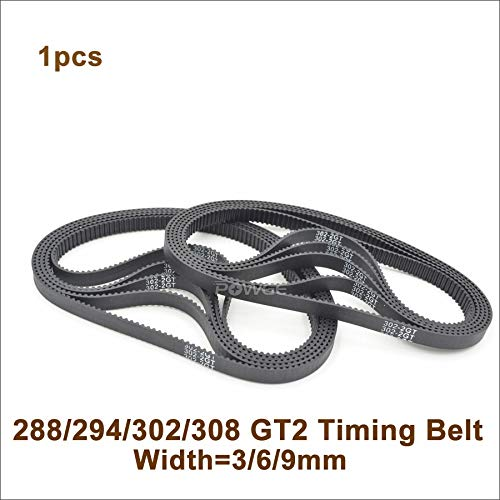 VNHOME 288/294/300/302/308 2GT Timing Belt W=3/6/9mm T=144/147/150/151/154 GT2 Closed-Loop Synchronous Belt 288-2GT 294-GT2 300-2