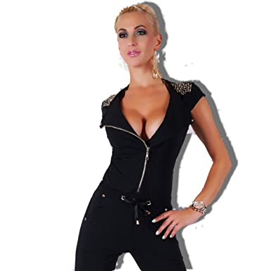 8ffcf7b4c85 Sexy Women s Black Jumpsuit Overalls Jogging Gym Wear Ladies Size 8 10 12  ...