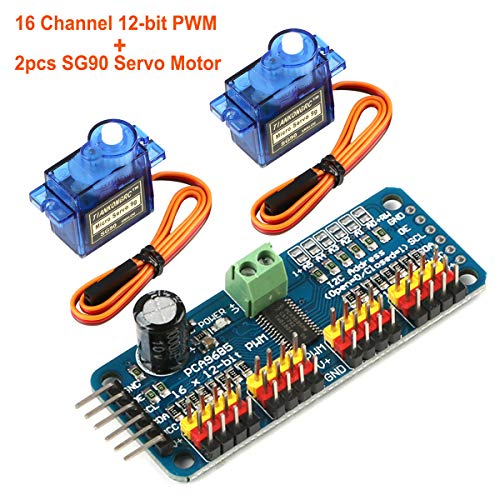 Seamuing PCA9685 16 Channel 12-Bit PWM Servo Motor Driver IIC Module and 2pcs SG90 9G Micro Servo Motor for Arduino - Connector Servo Pin 5