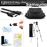 Essential Accessories Kit For Samsung F90, HMX-F90, HMX-F90BN, HMX-F90WN/XAA, HMX-F90BN/XAA HD Camcorder Includes 50 Tripod w/Case + Deluxe Case / Bag + Micro HDMI Cable + Screen Protectors + More