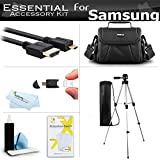 Essential Accessories Kit For Samsung F90, HMX-F90, HMX-F90BN, HMX-F90WN/XAA, HMX-F90BN/XAA HD Camcorder Includes 50'' Tripod w/Case + Deluxe Case / Bag + Micro HDMI Cable + Screen Protectors + More