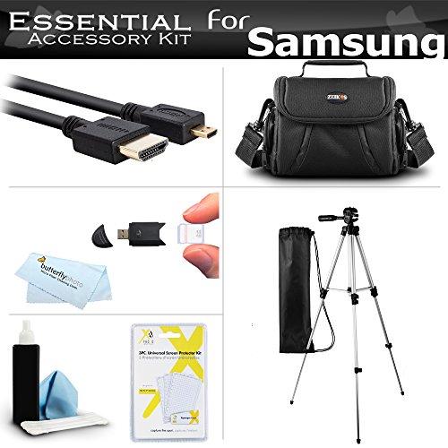 Essential Accessories Kit For Samsung F90, HMX-F90, HMX-F90BN, HMX-F90WN/XAA, HMX-F90BN/XAA HD Camcorder Includes 50″ Tripod w/Case + Deluxe Case/Bag + Micro HDMI Cable + Screen Protectors + More