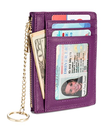 Slim Genuine Leather Credit Card Holder Front Pocket Wallet with ID Window Zipper Pocket Key Chain RFID Blocking - Purple