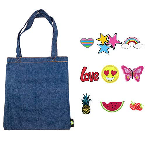 Denim Duck Bag Canvas Tote with 9 PCs Iron on Sew On Decorative Patches