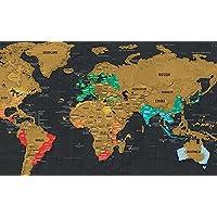 Çizilmeye karşı Off dünya haritası poster, kişisel Travel Tracker eşsiz seyahat edenler için hediye & çocuk…