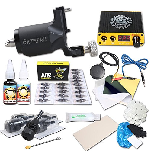 Dragonhawk Complete Tattoo Kits Extreme Rotary Tattoo Machine Mini Power Supply 0.5oz Immortal Tattoo Inks Cartridge Needles 1013-3YMX (Cartridge Needles)