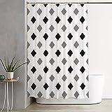 Black and Gray Shower Curtain Wasserrhythm White Black Gray Rhombus Fashion Design Shower Curtain 72x72 Inches Geometric Pattern