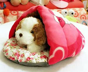 P.L Hello Kitty Soft Cotton Dual-use Pet Dog Cat Bed House Pet Sleeping Bag (XS(33x33x20cm))
