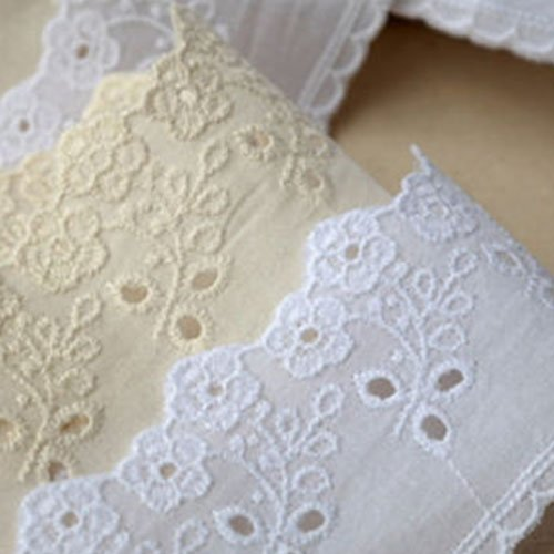 14Yds Broderie Anglaise cotton eyelet lace trim 5cm YH1476 (Natural Ivory) (Eyelet Natural)