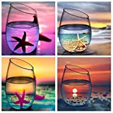 Diamond Painting Kits for Adults Kids,4 Pack 5D DIY Cup Diamond Art Accessories with Round Full Drill Dotz for Home Wall Decor - 11.8×11.8Inches