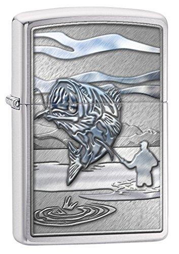 Zippo Custom Lighter: Fishing, Jumping Bass - Brushed Chrome 78663