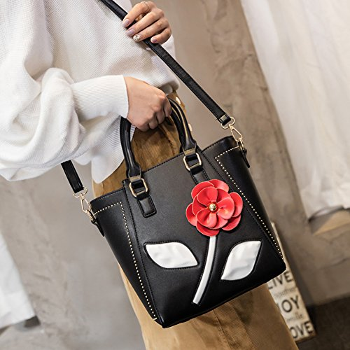 Black Bags Flowers Bag Bag Handbag For Top Messenger Girls Hit Shoulder Bags Retro Ms handle Color WZHqnTRww