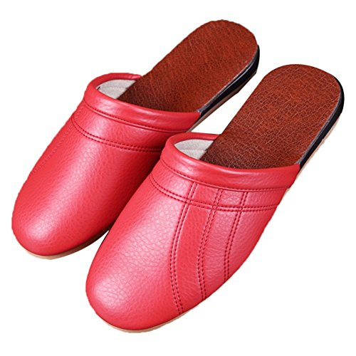 for Summer Women Autumn Spring Floor Smelly Leather Slippers Wooden Men Rouge Anti TELLW W Cowhide Corium P5qWanB