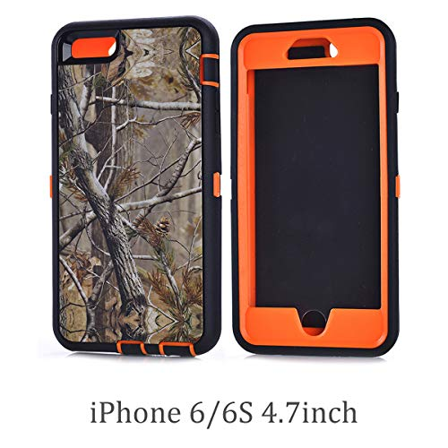 Chanroy- Compatible with iPhone 6 (4.7 Version) Heavy Duty Shockproof Dirtproof Defender Case Cover with Built-in Screen Protector (Orange Tree)