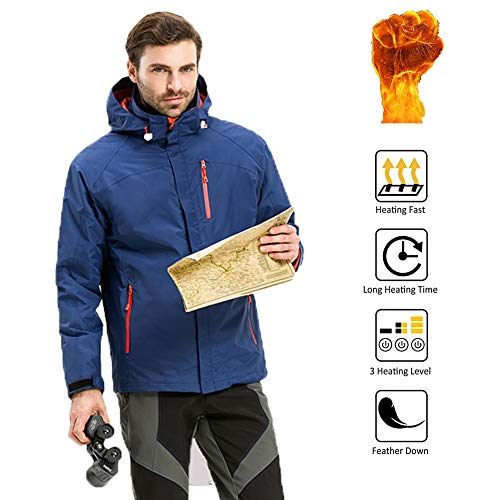 OUTANY Men's Heated Jacket,5V,USB,Men's Novelty Hoodies,Men's Activewear,with Hood Waterproof Wind Resistant and Anti-fouling(Power Bank not Included),M (Zone Connecting Block 2)