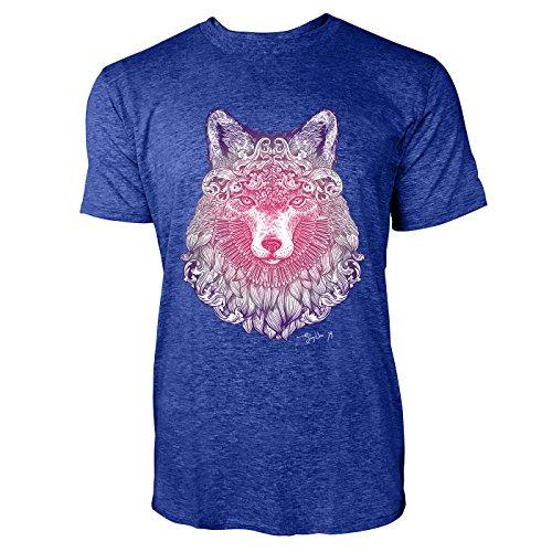 SINUS ART ® Fliederfarbener Fuchskopf mit Ornamenten Herren T-Shirts in Vintage Blau Cooles Fun Shirt mit tollen Aufdruck