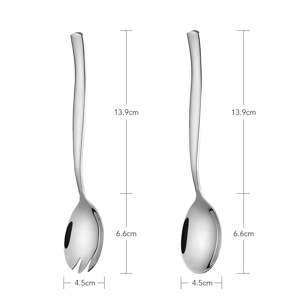 icxox - Set di 2 posate da insalata, in acciaio INOX 18/10, 20,5 cm Silver
