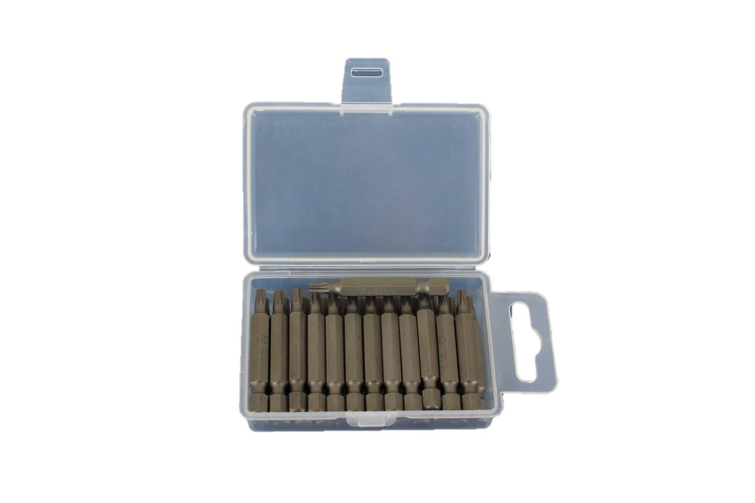 TEMO 25pc T-20 Torx 6 point Impact Ready 2 inch (50mmL) Length Screwdriver Insert Bits Hex Shank with Quick Release Slot
