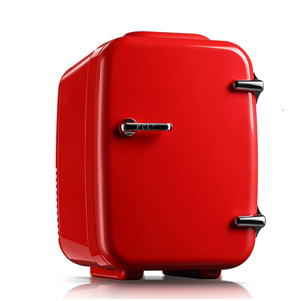 Portable refrigerator Lxn Mini Fridge 4L Mute Reefer Cooler Box and Warmer - Car Use - 6 x 330ml Cans |(Red)