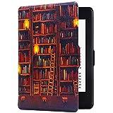 Huasiru Peinture Étui Housse Case pour Kindle Paperwhite Cover - Non Compatible avec Le modèle 2018 (10ème génération), Bibliothèque