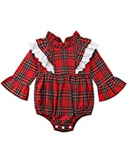 Hotwon Newborn Infant Baby Girls Clothes Plaids Checks Romper Bodysuit Kids Girls Dress Outfits