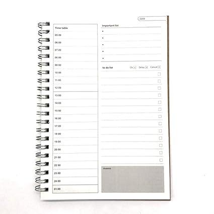 GOUDEDE Cuaderno espiral Diario Planificador semanal ...