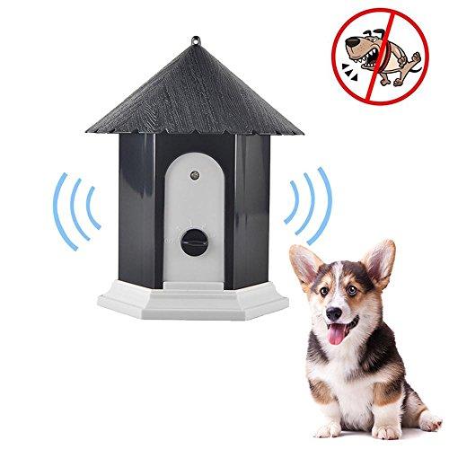 (Aolvo Anti Barking Device, 2018 Upgraded Ultrasonic Bark Control Training Tool, No Barking, Bark Stopper, Pavilion Shape, Safe for Small/Medium/Large Dogs Outdoor Use, Up to 50 Feet Range - Black)