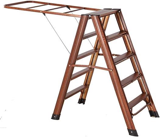 ZR- Escalera Aluminio, Tendedero Multifuncional Doméstico/Escalera Espiga Plegable Cinco Pasos Secado Multifuncional Interior. Ropa -Fácil de almacenar y fácil de llevar (color : Wood grain): Amazon.es: Hogar