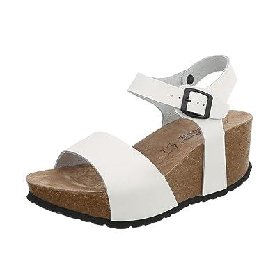 13d092e6de1318 Ital-Design Keilsandaletten Leder Damen-Schuhe Keilabsatz Wedge Schnalle  Sandalen   Sandaletten Weiß