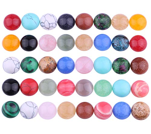 (20pcs Mix Kinds Natural Gemstone Cabochon Cameo Flatback Beads Crystal Agate Natural Stone for Jewelry Making (Round 10mm))