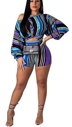 e3f750e19a54b Women Stripe Print Two Piece Outfits Off Shoulder Crop Top Shorts Set  Tracksuits Jumpsuits