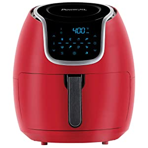 PowerXL Air Fryer Vortex - Multi Cooker with Roast, Bake, Food Dehydrator, Reheat Non Stick Coated Basket, Cookbook (7 QT, Red)