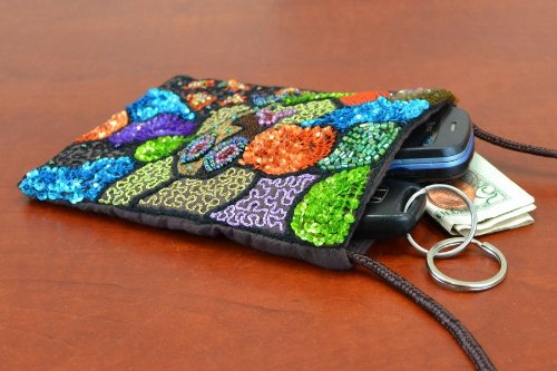 Brown Sequin Beads Button Pouch Jewelry Purse Beads And Sequins Pouch