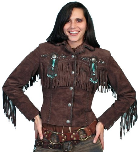 Scully Women's Fringe and Beaded Boar Suede Leather Jacket Chocolate Large