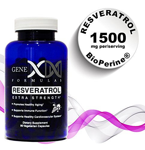 Genex - Resveratol 1500mg Maximum Strength Supplement (50% Trans-Resveratrol) 3x 500mg Capsules per 30-day serving
