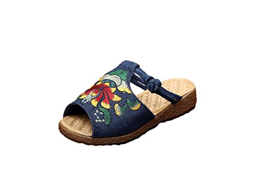 e4b981479857f Amazon.com: Ausom Womens Ethnic Style Thick-heeled Slippers ...