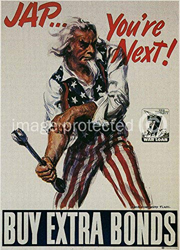 AGS - Uncle Sam Says Jap Youre Next Vintage World War II Two WW2 WWII USA Military Propaganda Poster - 24x36