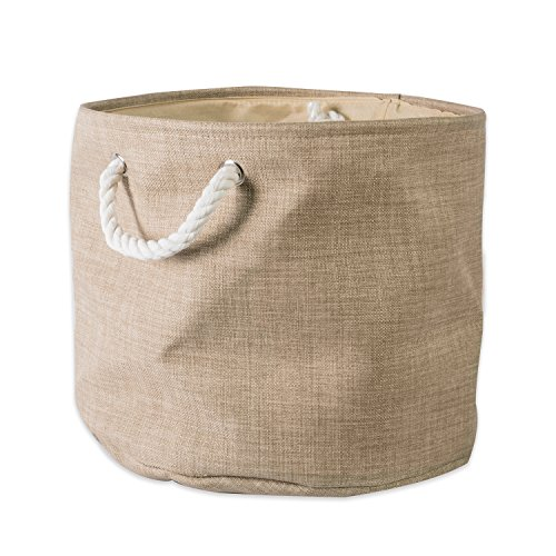 "DII Collapsible Variegated Polyester Storage Basket or Bin with Durable Cotton Handles, Home Organizer Solution for Office, Bedroom, Closet, Toys, & Laundry (Small Round – 12x9""), Taupe"