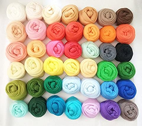 QICI Set of 50 Colors, Wool Roving Fibre Wool Yarn Roving For Needle Felting Hand Spinning DIY (50 - Needle Felting Purse