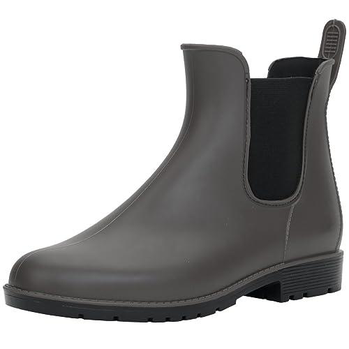 Botas de lluvia para mujer de PVC, botines de PVC, inserto elástico, botas con patrón de moda, color Gris, talla 36 EU: Amazon.es: Zapatos y complementos