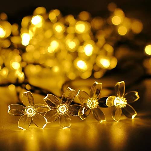 Darknessbreak Warm White Solar Flower String Lights Sakura lishts,23ft 50 LED Blossom Flower String Light Solar Power for Outdoor Garden,Lawn,Patio,Christmas Tree,Mother's Day Party Decorations.]()