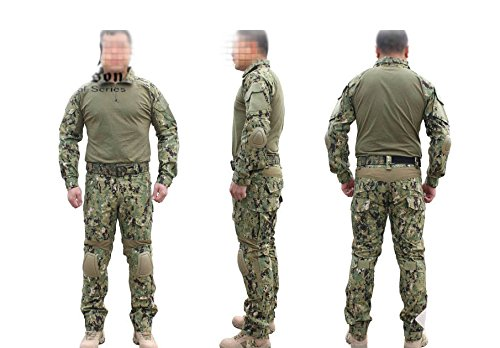 ATAirsoft(TM) Emerson Military Men Paintball Hunting BDU Uniform Combat Gen2 Suit Shirt & pants with Elbow Knee Pads Woodland Digital AOR2 (S) (Emerson Gen2 Combat compare prices)
