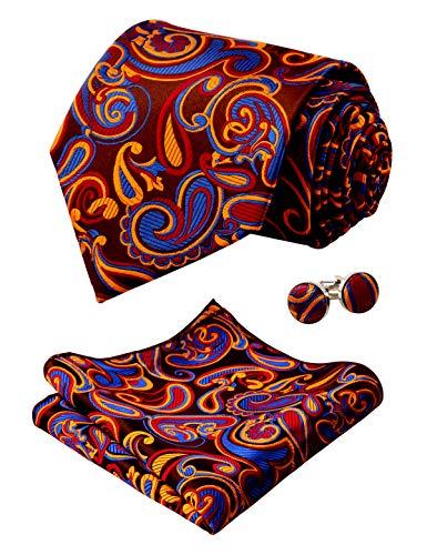 (Alizeal Mens Floral Paisley Tie, Hanky and Cufflinks Set, Navy+Maroon+Orange)