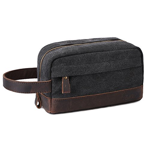 Price comparison product image S-ZONE Vintage Leather Trim Canvas Toiletry Bag Shaving Dopp Case Cosmetic Makeup Bag (Dark gray)