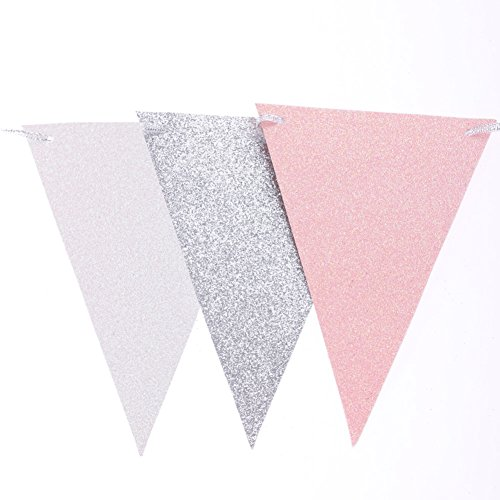 Ling's moment 10 Feet Vintage Triangle Flag Bunting Pennant Banner for Wedding Christmas Thanksgiving New Year Eve Party Flag Decor (Double Sided Glitter,Silver+White+Pink), 15pcs Flags, Pack of - And Silver Pink