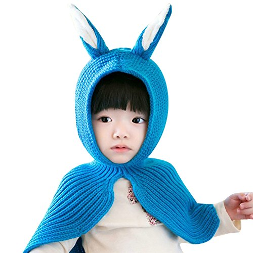 ELFJOY Lovely Rabbit Ears Knitted Hat with Shawl