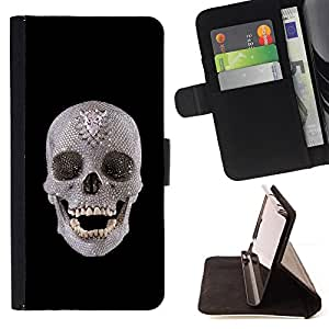 DEVIL CASE - FOR Sony Xperia M2 - Skull Crystal Ancient Art Archeology Head Teeth - Style PU Leather Case Wallet Flip Stand Flap Closure Cover