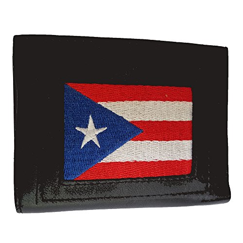 Trifold wallet made from genuine Indian lambskin leather with embroidered image (Puerto Rico Flag) (Puerto Wallet Rico)