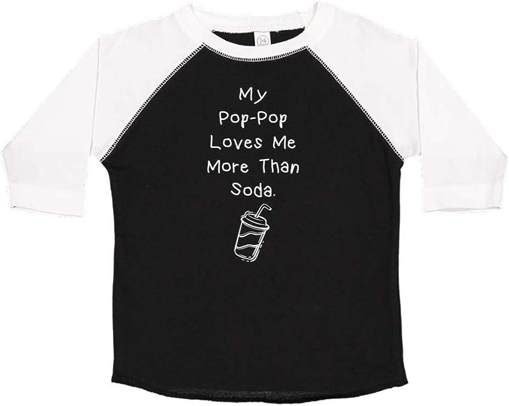 Toddler//Kids Raglan T-Shirt My Pop-Pop Loves Me More Than Soda