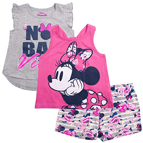 Mickey Mouse Hawaiian Shirt - Disney Girls 3PC Shirts and Short Set: Wide Variety Includes Minnie, Frozen, and Princess